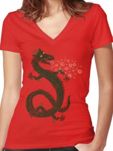 Dragon, Flower Breathing Women's Fitted V-Neck T-Shirt