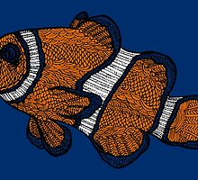 Coloured Clownfish Line Drawing by becSamways