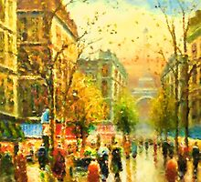 Walking In The Golden Rain by Romanovna Fine Art Prints