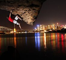 Night climbing in Sydney Harbour by Scott Rowling