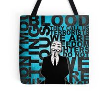 Anonymous revolution without blood ? Cyan Tote Bag