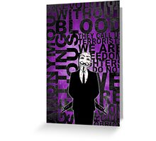 Anonymous revolution without blood ? Purple Greeting Card