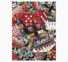 Gamblers Delight - Las Vegas Icons Background One Piece - Short Sleeve