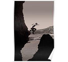 Colin jumping in the sea cave Poster