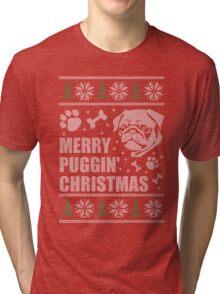 Merry Puggin' Christmas Ugly Sweater Pug Shirt Tri-blend T-Shirt