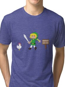 Link and the chickens... Tri-blend T-Shirt