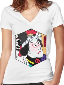 Heroes of the Ages: Shinmon Tatsugoro Women's Fitted V-Neck T-Shirt
