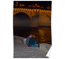 Lovers down by the seine river in paris at night-palette knife Poster