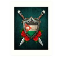 Canadian Flag on a Worn Shield and Crossed Swords Art Print