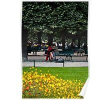 Paris lovers near Notre dame Poster