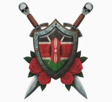 Kenyan Flag on a Worn Shield and Crossed Swords Kids Tee