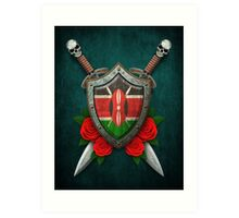 Kenyan Flag on a Worn Shield and Crossed Swords Art Print
