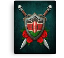 Kenyan Flag on a Worn Shield and Crossed Swords Canvas Print