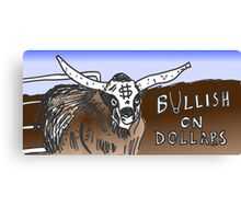 binary options cartoon - USD running with the Bulls Canvas Print
