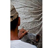 Stone carver at work in Batubulan, Bali, Indonesia. Photographic Print