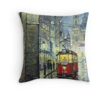Praha Red Tram Mostecka str  Throw Pillow