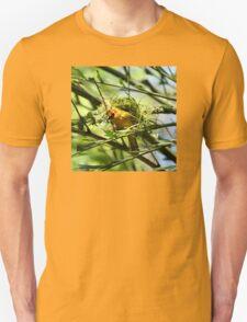 Golden Weaver Bird Sitting In Nest Being Built T-Shirt