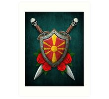 Macedonian Flag on a Worn Shield and Crossed Swords Art Print