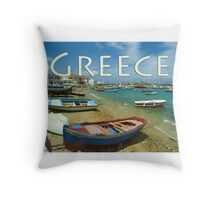 Mykonos Harbor, Mykonos, Greece Throw Pillow