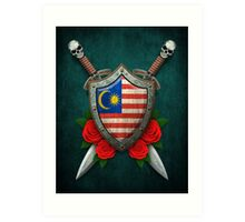 Malaysian Flag on a Worn Shield and Crossed Swords Art Print