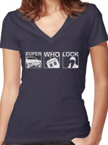 SuperWhoLock Horizontal Women's Fitted V-Neck T-Shirt