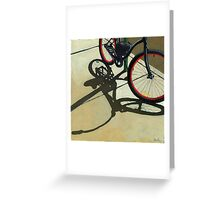 """Splash of Red"" - bicycle oil painting Greeting Card"