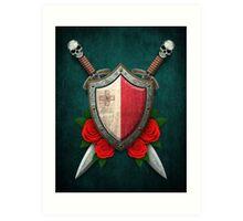 Maltese Flag on a Worn Shield and Crossed Swords Art Print