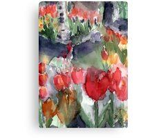 Tulip Garden in Watercolor Canvas Print