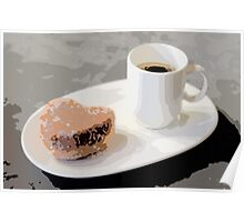 Cafe Americano and Heart Shaped Doughnut Poster