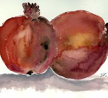 Pomegranates in watercolor by eliorawolfe