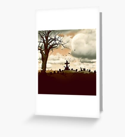 Full Moon Graveyard Sepia Greeting Card