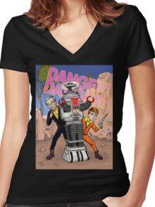 Danger, Will Robinson! Women's Fitted V-Neck T-Shirt
