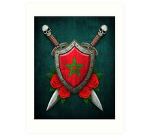 Moroccan Flag on a Worn Shield and Crossed Swords Art Print