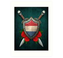 Dutch Flag on a Worn Shield and Crossed Swords Art Print