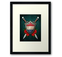 Dutch Flag on a Worn Shield and Crossed Swords Framed Print