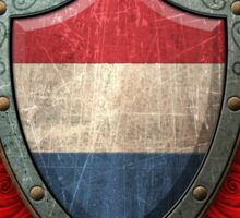 Dutch Flag on a Worn Shield and Crossed Swords Sticker