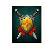 New Mexico Flag on a Worn Shield and Crossed Swords Art Print