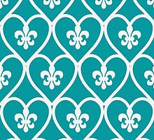Turquoise Heart Fleur De Lis  by runninragged