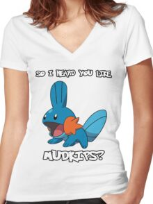 So I heard you like Mudkips? [White Text] Women's Fitted V-Neck T-Shirt