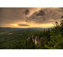 Sunset through a storm, Devils Pulpit, Monument Mountain, Massachusetts Photographic Print