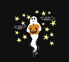 Cute Ghost with Jack-o-Lantern, Bats, & Stars Unisex T-Shirt