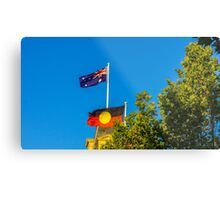 The Australian and Aboriginal Flags - Historic Town Hall, Bendigo Metal Print
