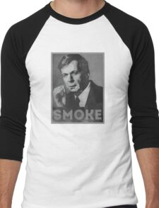 Smoke! Funny Obama Hope Parody (Smoking Man)  Men's Baseball ¾ T-Shirt