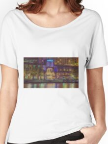 Southgate on the Yarra at Night Time - Melbourne Women's Relaxed Fit T-Shirt