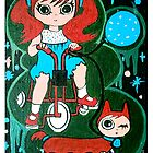 Little girl with her cat on wheels by Andie Noon