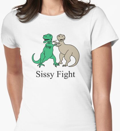 How T-Rex Fights Womens Fitted T-Shirt