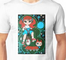 Little girl with her cat on wheels Unisex T-Shirt