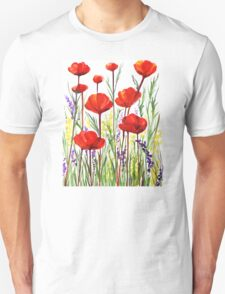 Poppies and Lavender  Unisex T-Shirt