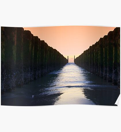 Wooden Breakwaters at Sunset Poster