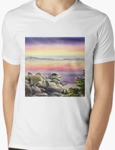 Purple Sunset At The Lake Mens V-Neck T-Shirt